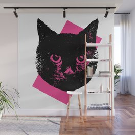 Black Cat, Color Block Pink Wall Mural