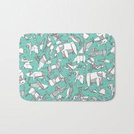 origami animal ditsy mint Bath Mat