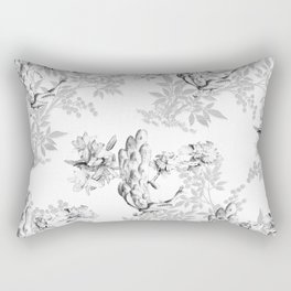PEACOCK LILY TREE AND LEAF TOILE GRAY AND WHITE PATTERN Rectangular Pillow