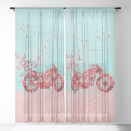 Happy Trip Motorbike Flower Power Art Sheer Curtain