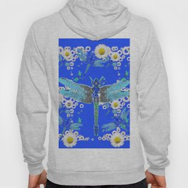 BLUE DRAGONFLIES WHITE DAISY FLOWERS  ART Hoody