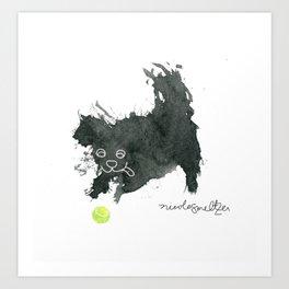 Scruffy Black Dog and a Tennis Ball Art Print