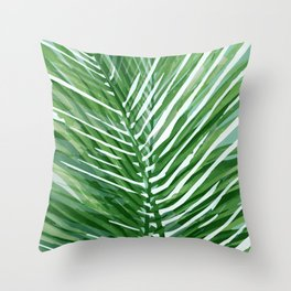 Abstract Palm Leaves | Green Throw Pillow