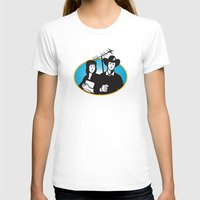 outdoor T-shirts featuring cowboy and girl holding aerial outdoor antennae by retrovectors