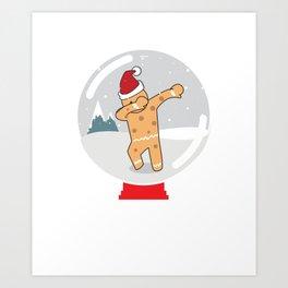 Gingerbread Man Dabbing in a Snow Globe Christmas Art Print