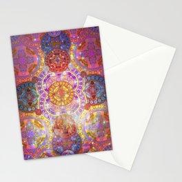 Glowing Glass Fire Star Mandala Stationery Cards