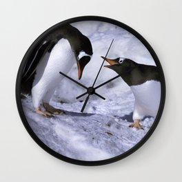 Chatting Penguins Wall Clock