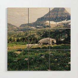 Montana Mountain Goat Family Wood Wall Art