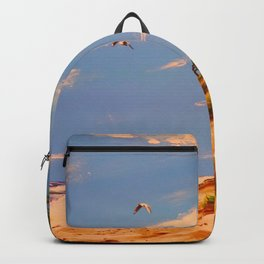 Painting, Acrylic, By The Sea, Beach, Water, Gulls. Vintage. Retro. Illustration.  Backpack