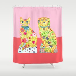 Boho Floral Cat and Dog Figurines Shower Curtain