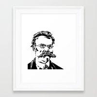 nietzsche Framed Art Prints featuring Friedrich Nietzsche by Joshua M. Paschal