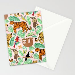 Wild And Wonderful Jungle Friends - Blush Pink Background Stationery Cards