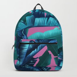 tropical banana leaves pattern pink Backpack