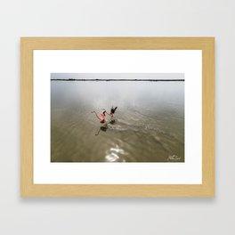 Flamingos Take Flight Framed Art Print