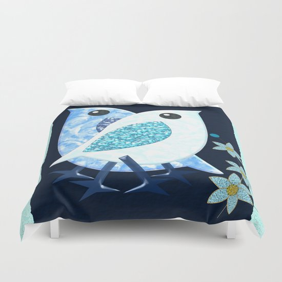 Modern painterly birds and flowers in a frame Duvet Cover