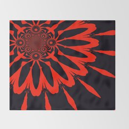 The Modern Flower Black & Red Throw Blanket