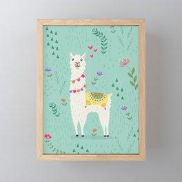 Festive Llama Framed Mini Art Print