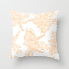 Island Vacation Hibiscus Palm Coral Apricot Orange Throw Pillow
