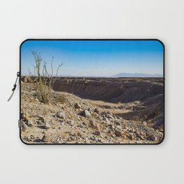 Lone Ocotillo Reaching up to the Blue Sky in front of a Gorge in the Anza Borrego Desert State Park Laptop Sleeve