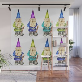 Colorful Gnome Spring Watercolor Illustration Wall Mural