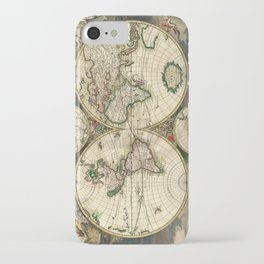 Old map of world hemispheres. Created by Frederick De Wit, published in Amsterdam, 1668 iPhone Case