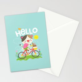 Cat on a bike Stationery Cards