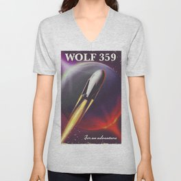 Wolf 359 Vintage science fiction space travel Unisex V-Neck