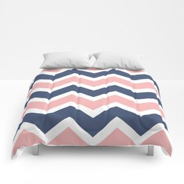 Zig Zag Chevron Pink and blue waves pattern Comforters