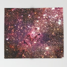 Galaxy : Eagle Nebula Mauve Burgundy Purple Gold Throw Blanket