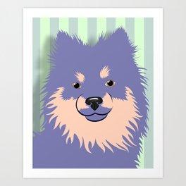 Olie the Pomeranian in Purple Art Print