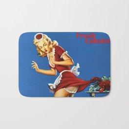 Fresh Lobster! - Satirical Pin Up Girl Waitress Motif Bath Mat