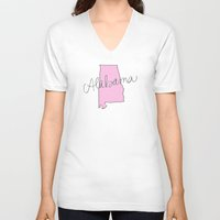 alabama V-neck T-shirts featuring Alabama - Pink by Oh Happy Roar - Emily J. Stivers