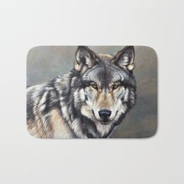 Timber Wolf by Alan M Hunt Bath Mat
