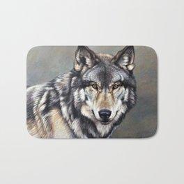Timber Wolf by Alan M Hunt Bath Mat