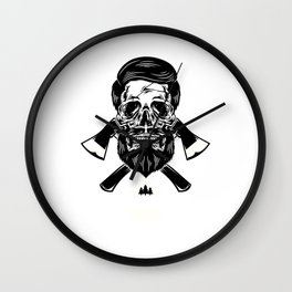Awesome Distressed Lumberjack Graphic Axe Trees Wood Wall Clock