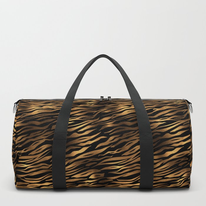 Gold and black metal tiger skin Duffle Bag