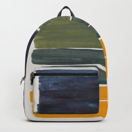 Minimalist Mid Century Color Block Color Field Rothko Navy Blue Olive Green Yellow Pattern by Ejaaz Haniff Backpack
