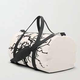 single black silhouette of the old tree without leaves Duffle Bag