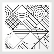 Whackadoodle White and black Art Print