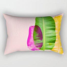 Bright Pink Colorful Banana Leaves Rectangular Pillow
