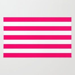 Bright Fluorescent Pink Neon and White Large Horizontal Cabana Tent Stripe Rug