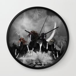 Awesome wild black horses Wall Clock