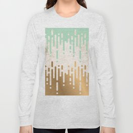 Marble and Geometric Diamond Drips, in Gold and Mint Long Sleeve T-shirt