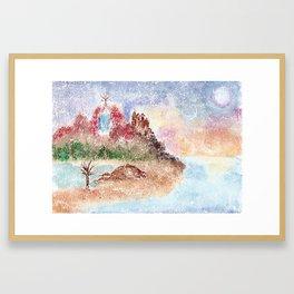 Mysterious Island Watercolor Illustration Framed Art Print