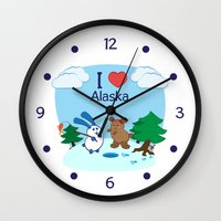 coraline Wall Clocks featuring Ernest and Coraline   I love Alaska by Hisame Artwork