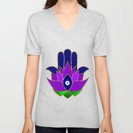 Lotus Hamsa Evil Eye Unisex V-Neck
