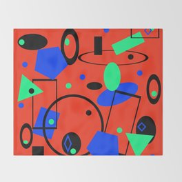 Retro abstract red print Throw Blanket