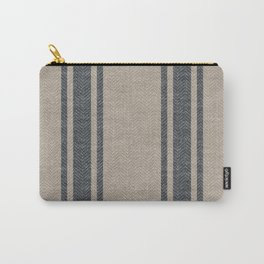 Farmhouse linen grey rustic grain sack texture vintage farmhouse lined linen design modern rustic Carry-All Pouch