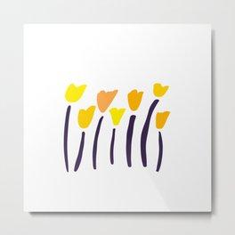 California Poppies // Hand-drawn Modern Organic Illustration Metal Print