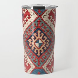 White Hooked Diamond // 19th Century Authentic Simple Colorful Aztec Accent Pattern Travel Mug